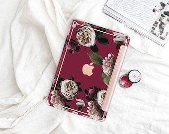 "Wine with Rose Gold Smart Cover Hard Case . iPad Pro 12.9 2018 . iPad Pro 11"" . iPad Air 10.5"". iPad Mini 5 . Custom Monogram"