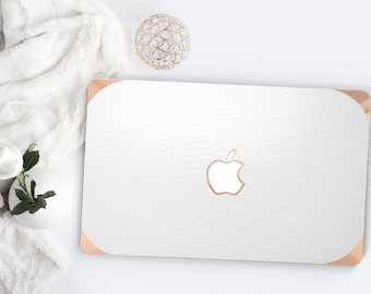 White Arctic Alligator Leather . Distinctive Macbook Hard Case and Bold Rose Gold Accents . Macbook Pro 13 Case . Custom Monogram