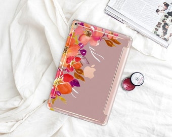 "Mauve Mist with Rose Gold Smart Cover Hard Case . iPad Pro 12.9 2018 . iPad Pro 11"" . iPad Air 10.5"". iPad Mini 5 . Custom Monogram"