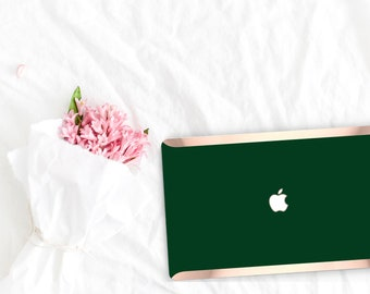 Sophisticated Phthalo Green . Distinctive Macbook Hard Case and Bold Rose Gold Accents . Macbook Pro 13 Case . Custom Monogram