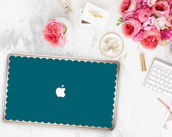 Gypsy Teal  Blue Scallop Macbook Case . Distinctive Macbook Hard Case and Bold Rose Gold Accents . Macbook Pro 13 Case . Custom Monogram