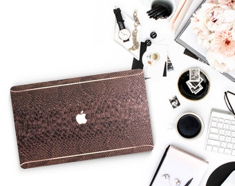 Leather Bronze Snake and Thin Rose Gold Accents Macbook Hard Case . Hand-Made Macbook Case  .   . Macbook Air 13 A1990 . A1990