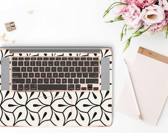 Minimalist Petal and Rose Gold Chrome Detailing Inner Keyboard Tray Vinyl Skin          - Platinum Edition