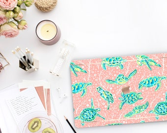 Sea Turtle Macbook Pro 13 Case A2159  . Macbook Hard Case and Bold Rose Gold Accents . Lilly Pulitzer Inspired . Macbook Pro 15 Case Preppy