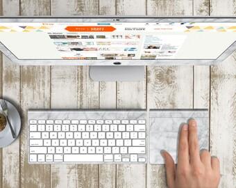 "White Marble Skin for iMac 21.5""  . iMac 27"" 5k (Includes Wireless Apple Keyboard / Apple Magic Touchpad / Foot). Monogram"