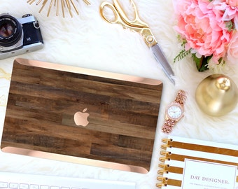 Sophisticated Dark Untreated Wood . Distinctive Macbook Hard Case and Bold Rose Gold Accents . Macbook Pro 13 Case A2159  . Custom Monogram