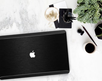 Brushed Black and Bold Black Leather Accents . Distinctive Macbook Hard Case . Macbook Pro 13 Case . Custom Monogram
