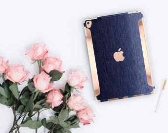 "iPad Case . iPad Pro 10.5 . Brushed Blue with Rose Gold for the iPad Pro 9.7    New iPad 9.7"" Smart Keyboard compatible Hard Case"