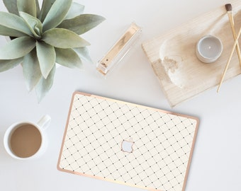 Minimalist Grid Cream Macbook Pro 13 Case. Distinctive Macbook Hard Case and Bold Rose Gold Accents . Macbook Pro 13 Case . Custom Monogram