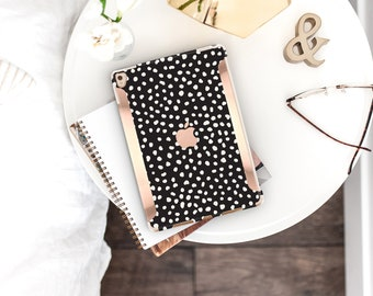 Hipster Black and Dots with Bold Rose Gold Accents . Kate Spade Inspired . iPad Case . iPad Pro 10.5 . Smart Keyboard compatible Hard Case