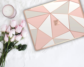 Geometric Pastel Shades and Rose Gold Edge Vinyl Skin  Microsoft Surface Book 2 , Surface Laptop , Surface Pro 6  . Surface Go . Monogram