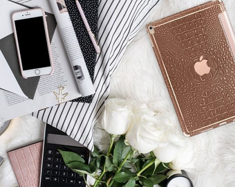 "Terracotta with Rose Gold Smart Cover Hard Case . iPad Pro 12.9 2018 . iPad Pro 11"" . iPad Air 10.5"". iPad Mini 5"