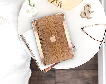 Brown Snake with Bold Rose Gold Accents . iPad Case . iPad Pro 10.5 . Smart Keyboard compatible Hard Case