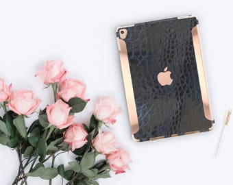 "iPad Case    Black Mica Alligator Leather and Rose Gold for the   97"" Smart Keyboard Compatible Hard Case"