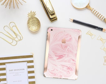 Pink Marble Swirl with Rose Gold Detailing Vinyl Skin for the iPad Air 2, iPad mini 4 , iPad Pro - Platinum Edition