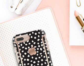 Black and Dots and Rose Gold Case Otterbox Symmetry. iPhone X . iPhone Xs Max . iPhone XR . iPhone 8 . PopSocket