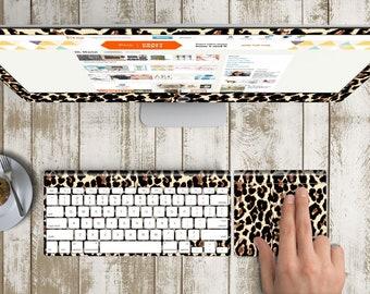 "Elusive Leopard Vinyl Skin Decal for Apple iMac 21.5"" 4K . iMac 27"" Retina 5K . Custom Monogram"