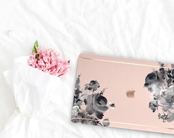 French Rose Flowerly Collection . Leather Macbook Case . Distinctive Macbook Hard Case and Rose Gold . Macbook Pro 13 Case . Custom Monogram