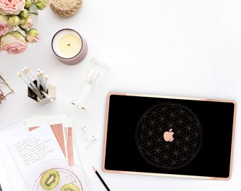 Platinum Edition . Elegant Black with Rose Gold Flower of Life Macbook Case . Macbook Pro 13 A1989 A2159 . Pro 16 Touch A2141