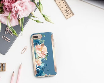 Rackley Flowerly Collection and Rose Gold Hard Case Otterbox Symmetry. iPhone X . iPhone Xs Max . iPhone XR . iPhone 8 . Monogram