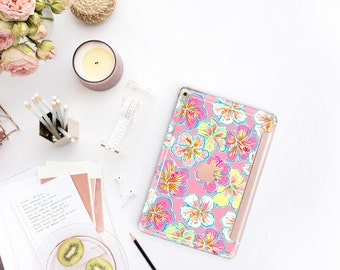 """Hibiscus Rosa with Rose Gold Smart Cover Hard Case . Lilly Pulitzer Inspired.  iPad Pro 12.9 2018  iPad Pro 11""""  iPad Air 10.5"""". iPad Mini 5"""