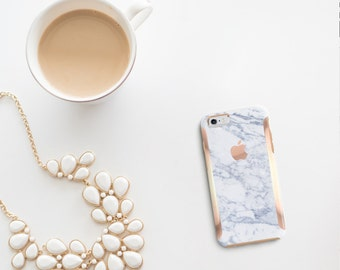 Makrana Marble with Rose Gold   Hard Case Otterbox Symmetry          . iPhone X . iPhone Xs Max . iPhone XR . iPhone 8 . PopSocket
