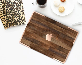 Rustic Dark Varnished Wood . Distinctive Macbook Hard Case and Bold Rose Gold Accents . Macbook Pro 13 Case . Custom Monogram