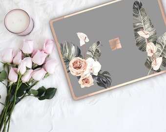 Boho Tropical Spanish Gray Flowerly Collection and Rose Gold Edge Vinyl Skin Microsoft Surface Pro X , Surface Laptop 3 , Surface Pro 7