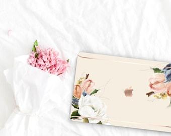 Alabaster Flowerly Collection Leather Macbook Case . Distinctive Macbook Hard Case and Rose Gold . Macbook Pro 13 Case . Custom Monogram
