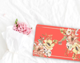 Coral Flowerly Collection Leather Macbook Case . Distinctive Macbook Hard Case and Rose Gold . Macbook Pro 13 Case A2159  . Custom Monogram