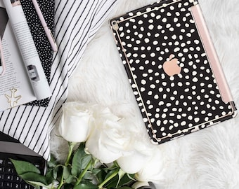 "Dots and Cream with Rose Gold Smart Cover Hard Case . Kate Spade Inspired.  iPad Pro 12.9 2018 . iPad Pro 11"" . iPad Air 10.5"". iPad Mini 5"