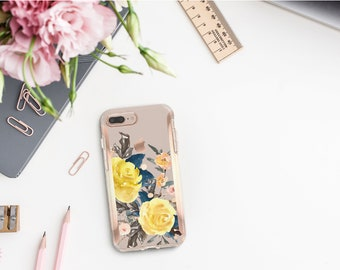 Pale Silver Flowerly Collection and Rose Gold Hard Case Otterbox Symmetry. iPhone X . iPhone Xs Max . iPhone XR . iPhone 8 . Monogram