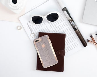 Silver Snake and Rose Gold Hard Case Otterbox Symmetry  . iPhone X . iPhone Xs Max . iPhone XR . iPhone 8 . PopSocket