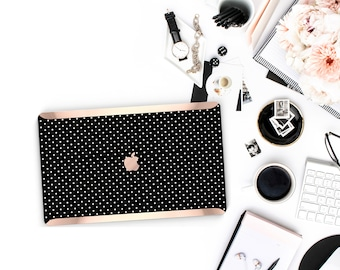 Polka Dot . Kate Spade Inspired . Distinctive Macbook Hard Case and Bold Rose Gold Accents . Macbook Pro 13 Case A2159  . Custom Monogram