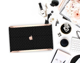 Polka Dot . Kate Spade Inspired . Distinctive Macbook Hard Case and Bold Rose Gold Accents . Macbook Pro 13 Case . Custom Monogram