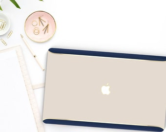 Ash White Gold with Navy Blue Velvet . Distinctive Macbook Hard Case and Bold Rose Gold Accents . Macbook Pro 13 Case . Custom Monogram