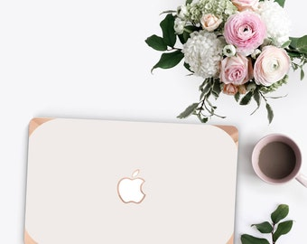 Elegant Cream White with Curvy Rose Gold Detailing . Distinctive Macbook Hard Case Rose Gold Accents   A1990 . A1990