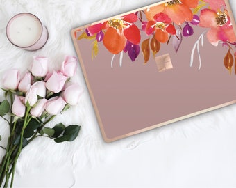 Mauve Mist  Flowerly Collection and Rose Gold Edge Vinyl Skin Microsoft Surface Book 2 , Surface Laptop 2 , Surface Pro 6 . Go . Monogram