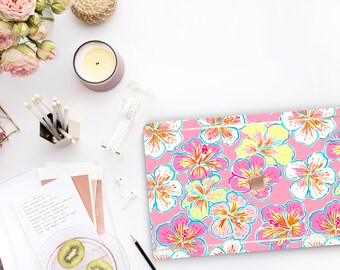 Hibiscus Rosa  .  . Lilly Pulitzer Inspired . Macbook Pro 15 Case PreppyMacbook Pro 13 A1989 A2159 . Pro 16 Touch A2141 . A1990