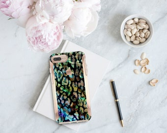 Abalone Shell Leopard and Rose Gold Hard Case Otterbox Symmetry . iPhone Xs . iPhone Xs Max . iPhone XR . iPhone 8 . PopSocket . Monogram