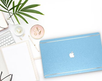 Sky Blue Sparkle Shimmer Glitter . Macbook Pro 13 Case Macbook Air Case Laptop Case Macbook Case . Rose Gold Chrome . Platinum