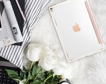 "White Alligator with Rose Gold Smart Cover Hard Case . Kate Spade Inspired.  iPad Pro 12.9 2018 . iPad Pro 11"" . iPad Air 10.5"". iPad Mini 5"