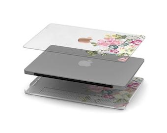 Vintage Vibe Floral Crystal Clear Transparent Macbook Case. Distinctive Macbook Hard Case and Rose Gold Apple . Macbook Pro 13 Case A2159