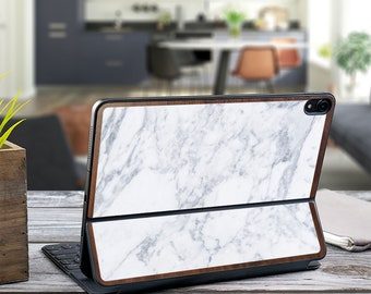 "Makrana Marble and Primavera Wood Edge Vinyl Skin Decal - Apple Smart Keyboard Folio iPad Pro 11"" . iPad Pro 12.9"" . iPad Air 10.5"