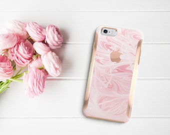 Pink Marble Swirl with Rose Gold   Hard Case Otterbox Symmetry. iPhone X . iPhone Xs Max . iPhone XR . iPhone 8 . PopSocket