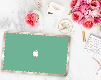 Green Eucalyptus Scallop Macbook Hard Case. Distinctive Macbook Hard Case and Bold Rose Gold Accents . Macbook Pro 13 Case . Custom Monogram