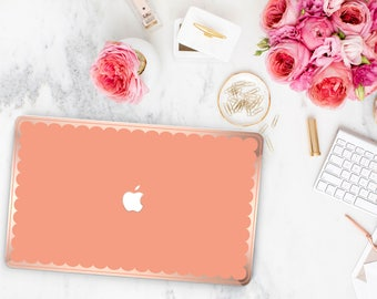 Orange Sun Kissed  Scallop Macbook Case . Distinctive Macbook Hard Case and Bold Rose Gold Accents . Macbook Pro 13 Case . Custom Monogram