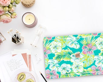 Tropical Paradise Macbook Pro 13 Case . Macbook Hard Case and Bold Rose Gold Accents . Lilly Pulitzer Inspired . Macbook Pro 15 Case Preppy