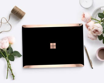Black with Rose Gold Edge Vinyl Skin  Microsoft Surface Pro X , Surface Laptop 3 , Surface Pro 7. Surface Go . Surface Book 3
