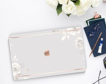 Light Sketchy Florals . Distinctive Macbook Hard Case and Bold Rose Gold Accents . Macbook Pro 13 Case . Air 13 . Custom Monogram